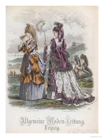 Two Ladies, Fashion Plate from the Allgemeine Moden