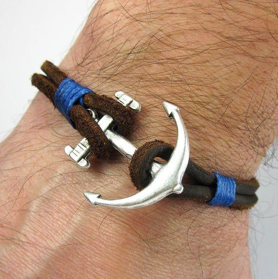 Expressversand Männer Leder-Armband In Braun Leder, Blaues