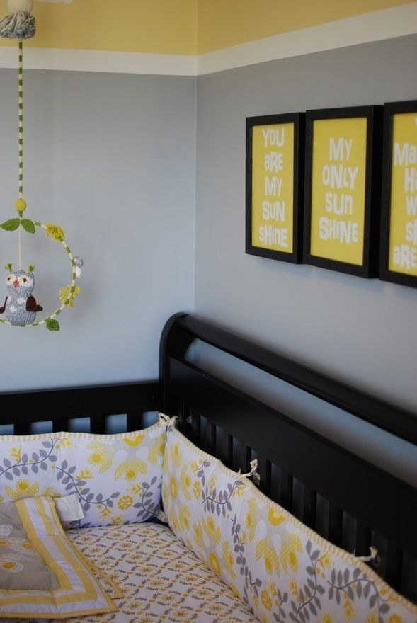 you are my sunshine nursery. Minus the owl mobile. Subway art on etsy. Like the black frames if we get a darker crib