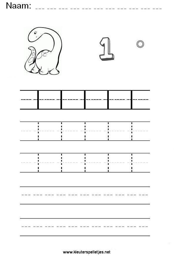 ... Een werkblad om te printen. | Trace Numbers Worksheets | Pinterest