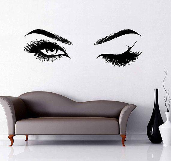 eyes wall decals eyelashes wall sticker make up wall decal girls