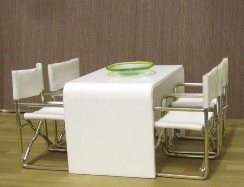 Captivating White Acrylic Minimalist Dining Table | ELF Miniatures