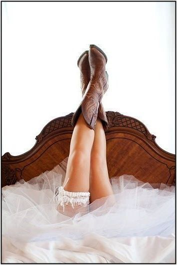 Wear cowboy boots on your wedding day - you won't regret it! It's your day - wear your favorite shoes. :) #cowgirl #wedding #cowboyboots