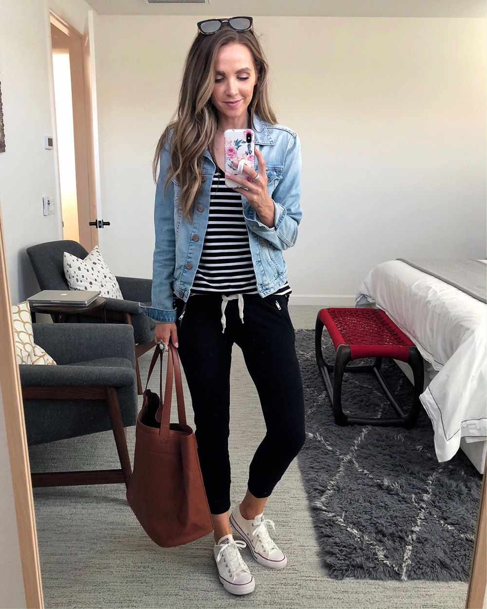 Instagram Roundup Weekend Sales Merrick S Art How To Wear Denim Jacket How To Wear Joggers Jogger Outfit Casual [ 1250 x 1000 Pixel ]