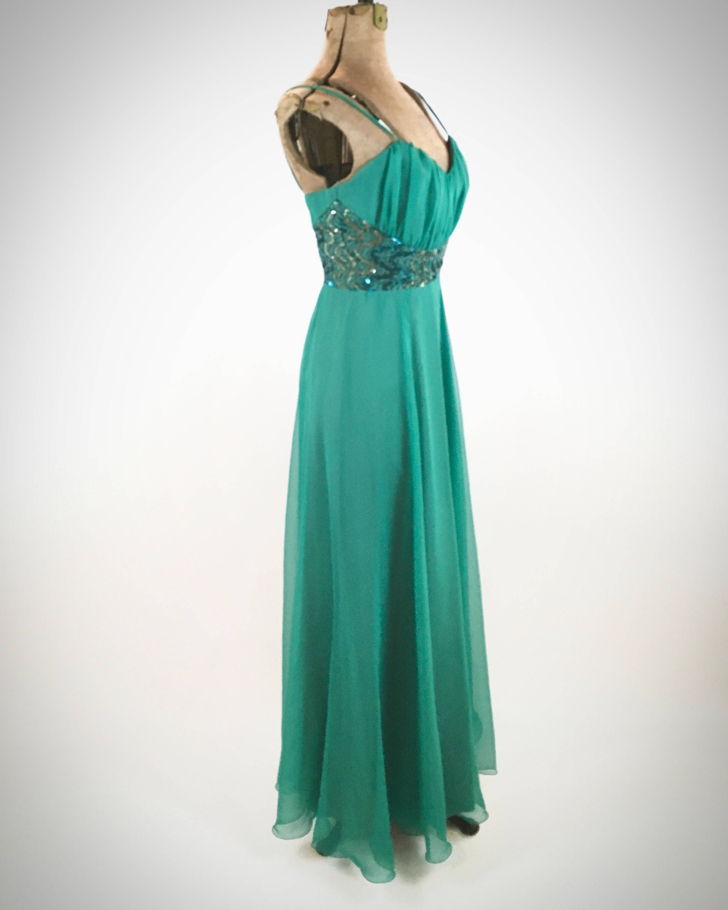 1970s Teal Gown Chiffon Sequins Spaghetti Straps Vintage 70s Formal ...
