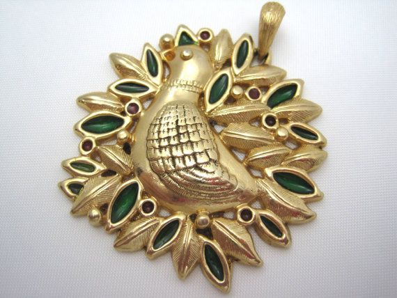 Vintage sarah coventry christmas pendant partridge in a pear tree vintage sarah coventry christmas pendant partridge in a pear tree aloadofball