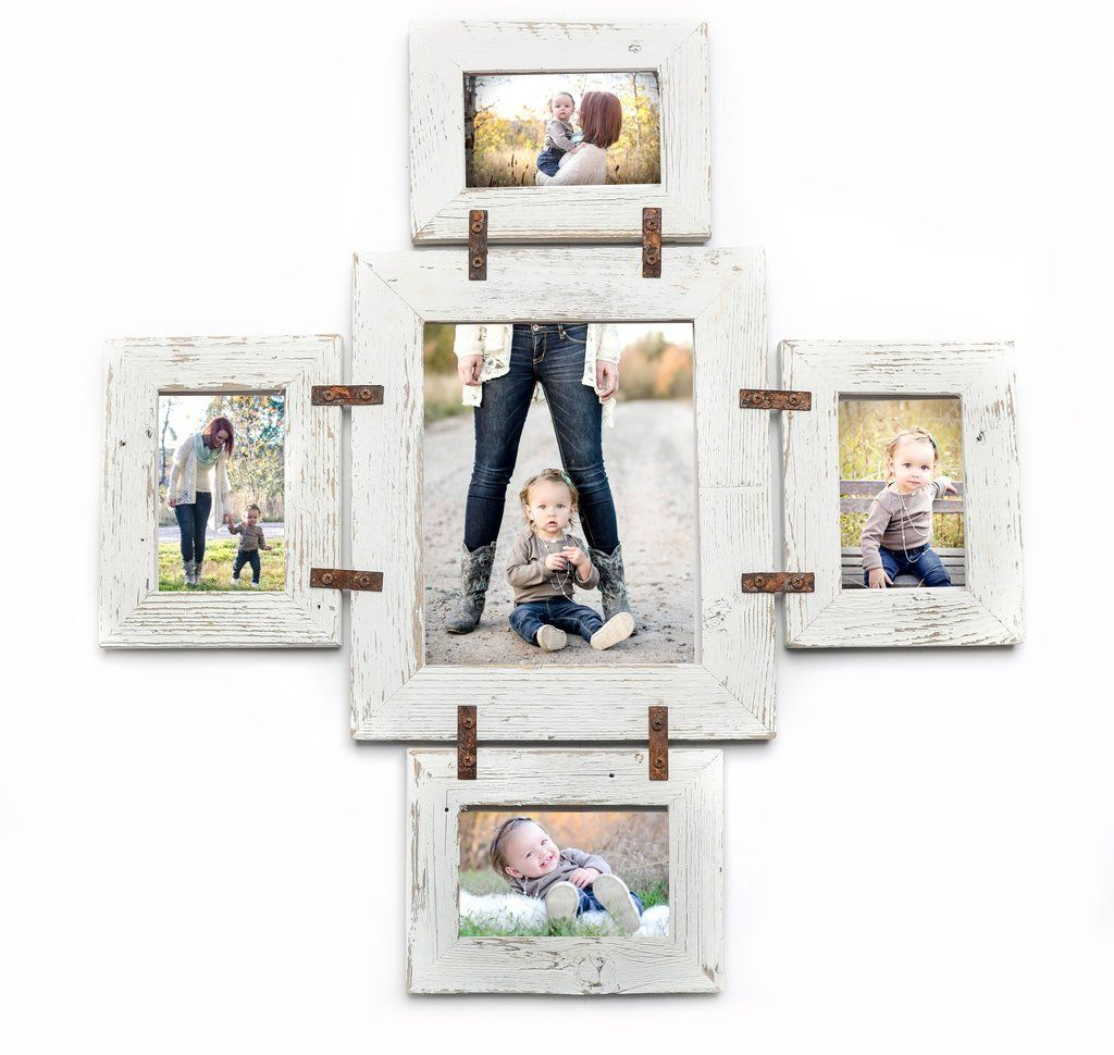 Rustic Photo Collage Frame 1 8x10 and 4 5x7-Multi Opening Unique ...