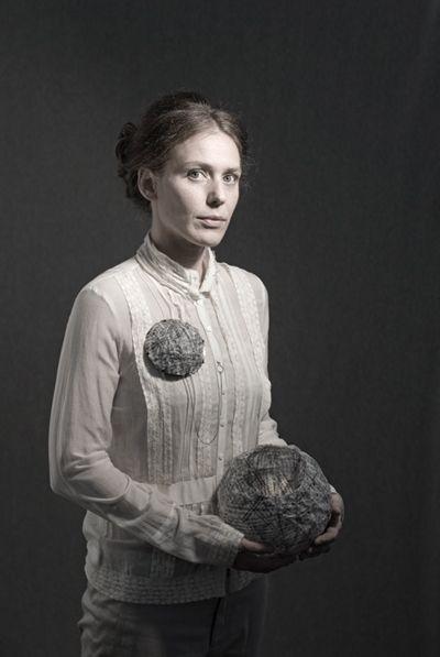 "Postcard: FRANCISCA KWEITEL -AR. ""Soy"" - Brooch. Paper, oxidized bronze, oxidized silver. 2010"