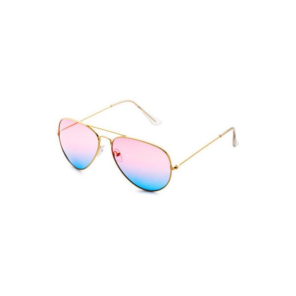 eb45275846 SheIn(sheinside) Pink and Blue Ombre Matel Frame Double Bridge... ( · Blue  OmbrePink BlueBlue SunglassesRetro ...