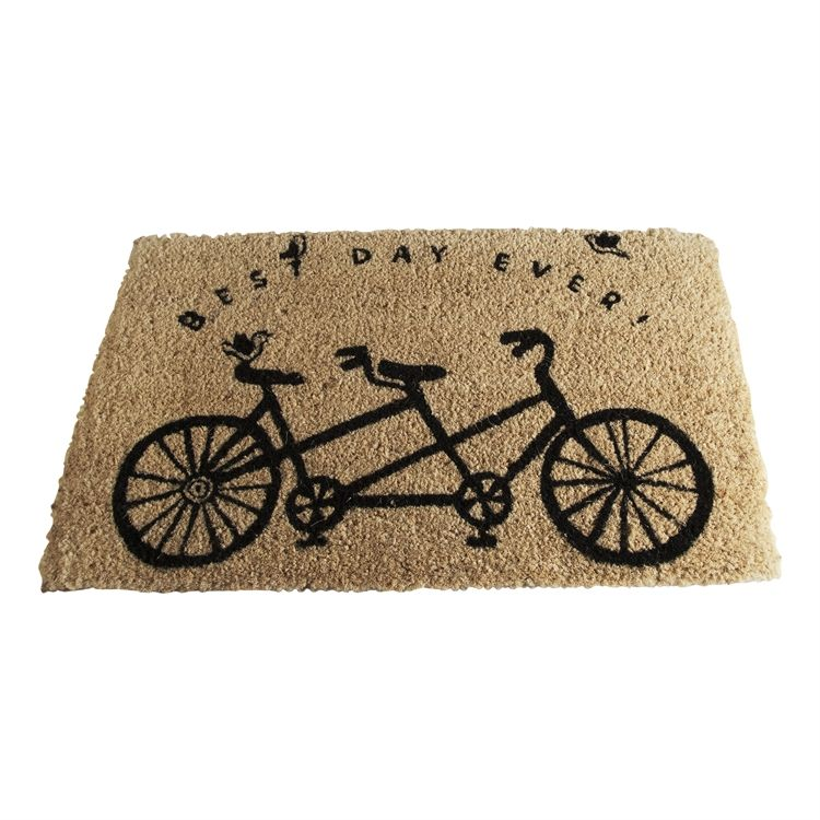 Coir Mat With Tandem Bicycle Design And Saying Best Day Ever