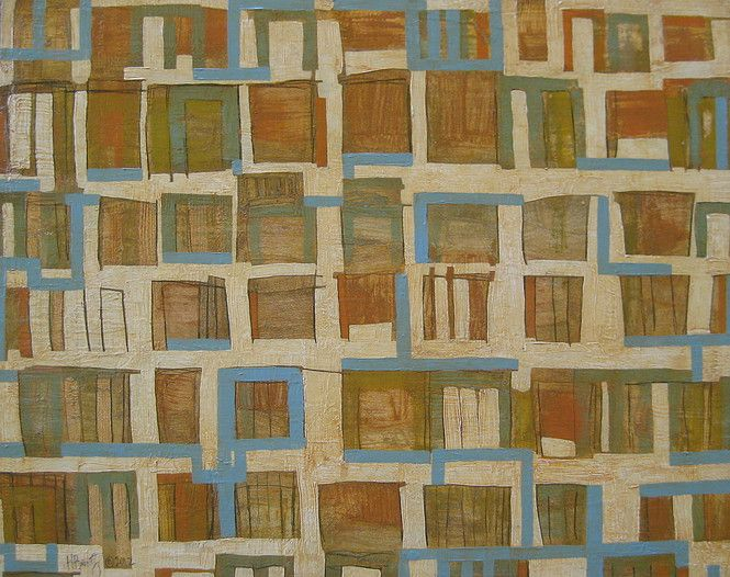 More Is Better www.heatherbentz.com #arttomakeyouhappy Art for home, art for office by contemporary artist Heather Bentz #heatherbentzart #originalart #contemporaryart #squares #desks #acryliconpanel #goldenacrylic
