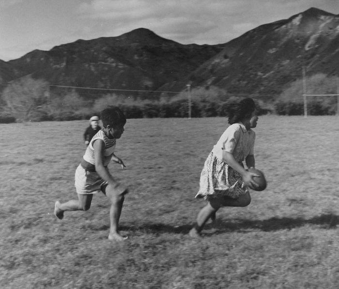 Ans Westra  Playing Rugby, Parikino Maori School, Whanganui, 1963…