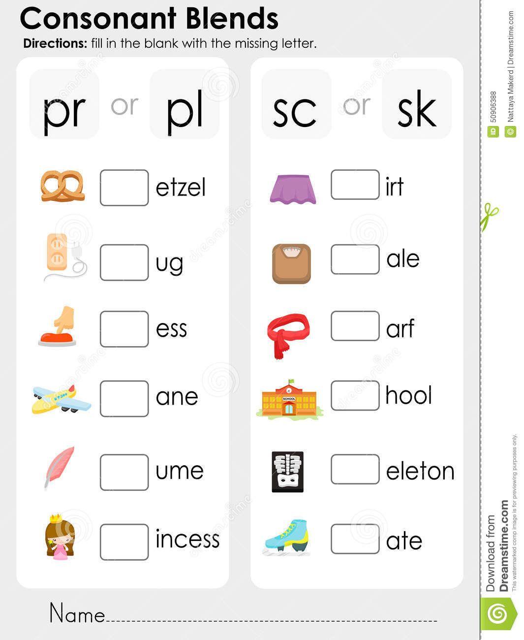 consonant-blends-missing-letter-worksheet-education-fill-blank ...