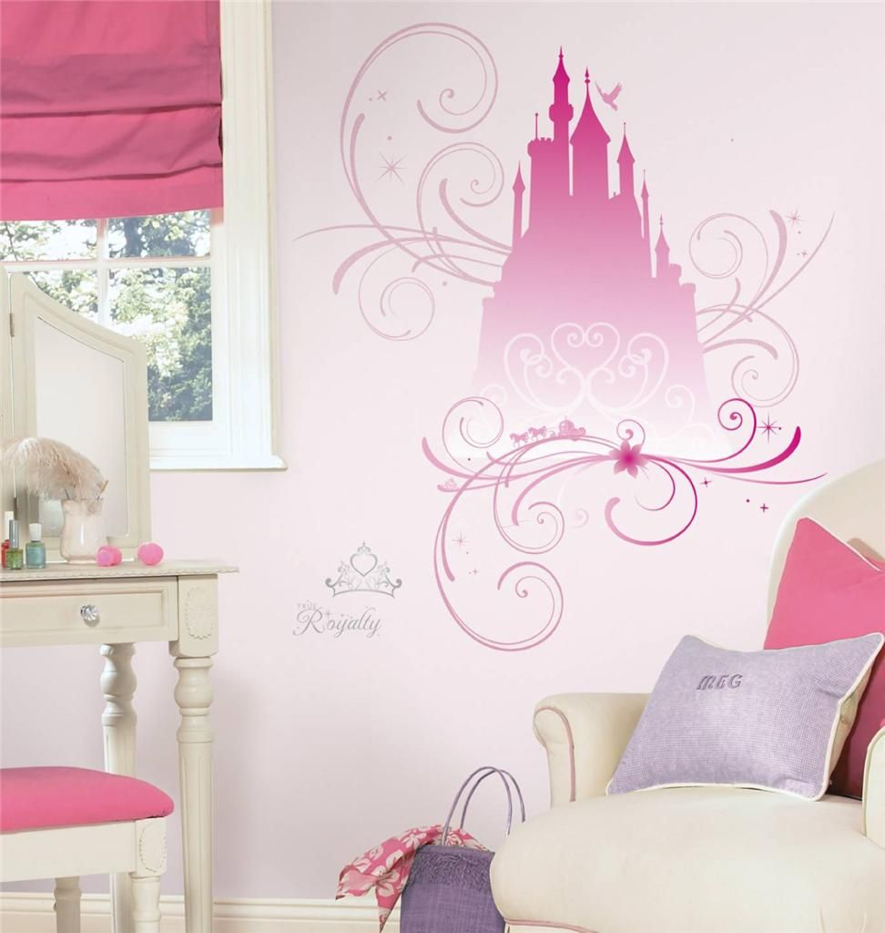 Beautiful New Giant DISNEY PRINCESS SCROLL CASTLE WALL DECALS Glittery Stickers Room  Decor