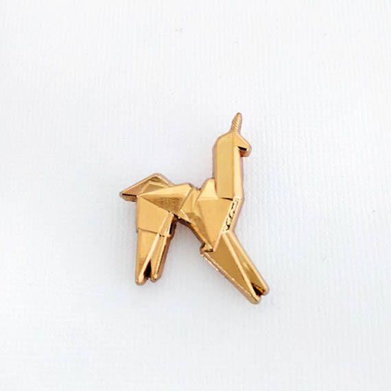 Blade Runner Origami Unicorn Pin: Blade Runner Unicorn Hard Enamel Pin / Gold Origami