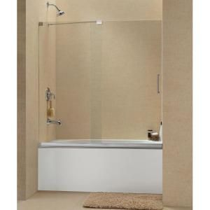 DreamLine Mirage 56 To 60 Inch Frameless Sliding Tub Door   Clear  Glass/Brushed Nickel
