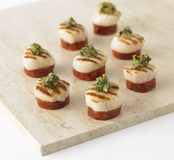 chorizo and scallop canapes perfect for dinners events and weddings dinnerparty scallops chorizo canapes foodie foodchats chef cooking