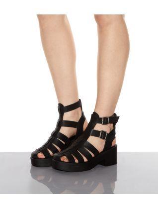 a7a473a63622 Black (Black) Black Chunky Caged Hi-Top Gladiator Sandals ...