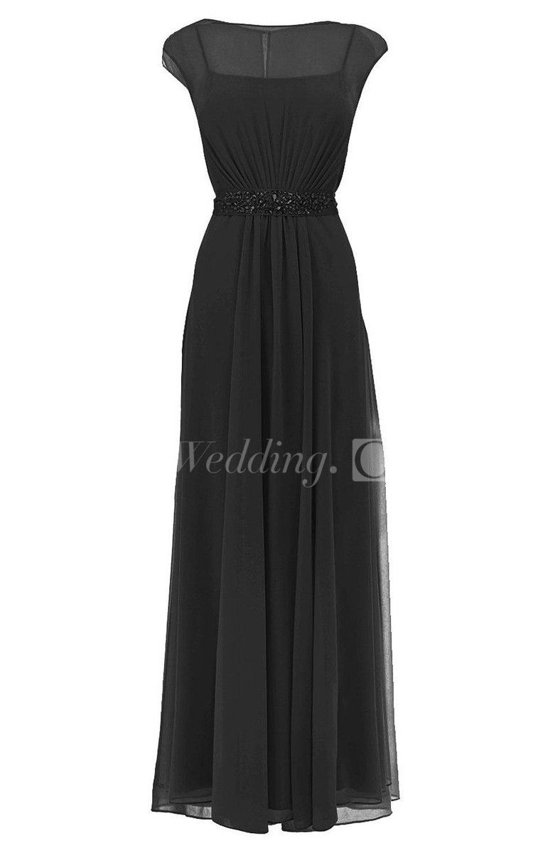 Cap-sleeved Chiffon Long Mother of the Groom Dress With Sleeves, Perfect for Mother of Brides Dresses . #long #DorisWedding.com