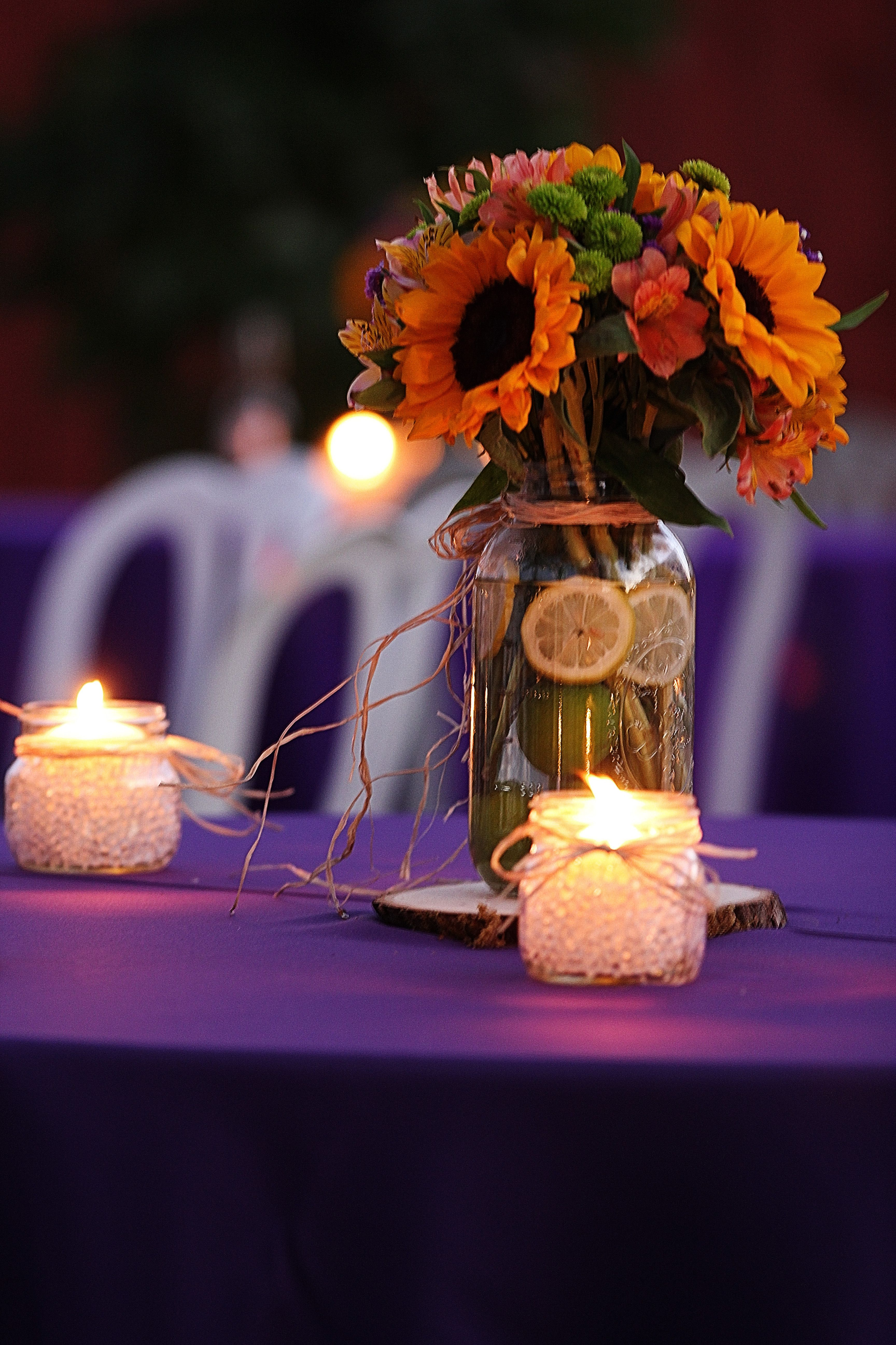 Backyard Party Decor. Purple and Yellow accents www ...