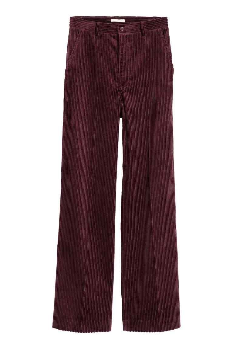 Широкие вельветовые брюки - Бордовый - Женщины | H&M RU