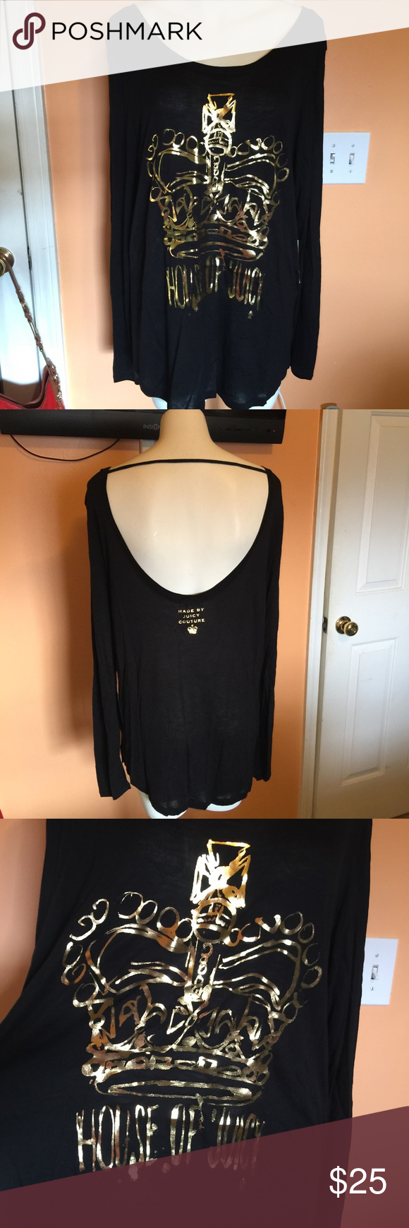NWT House of Juicy long sleeve tee size XL New long sleeve tee with gold house of Juicy design on front. Back is open and sexy. Please make offers with offer button. Juicy Couture Tops Tees - Long Sleeve