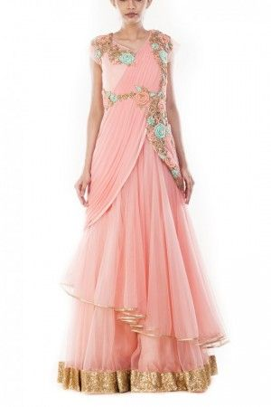 523cf604ce4 Angel blush double layer gown saree
