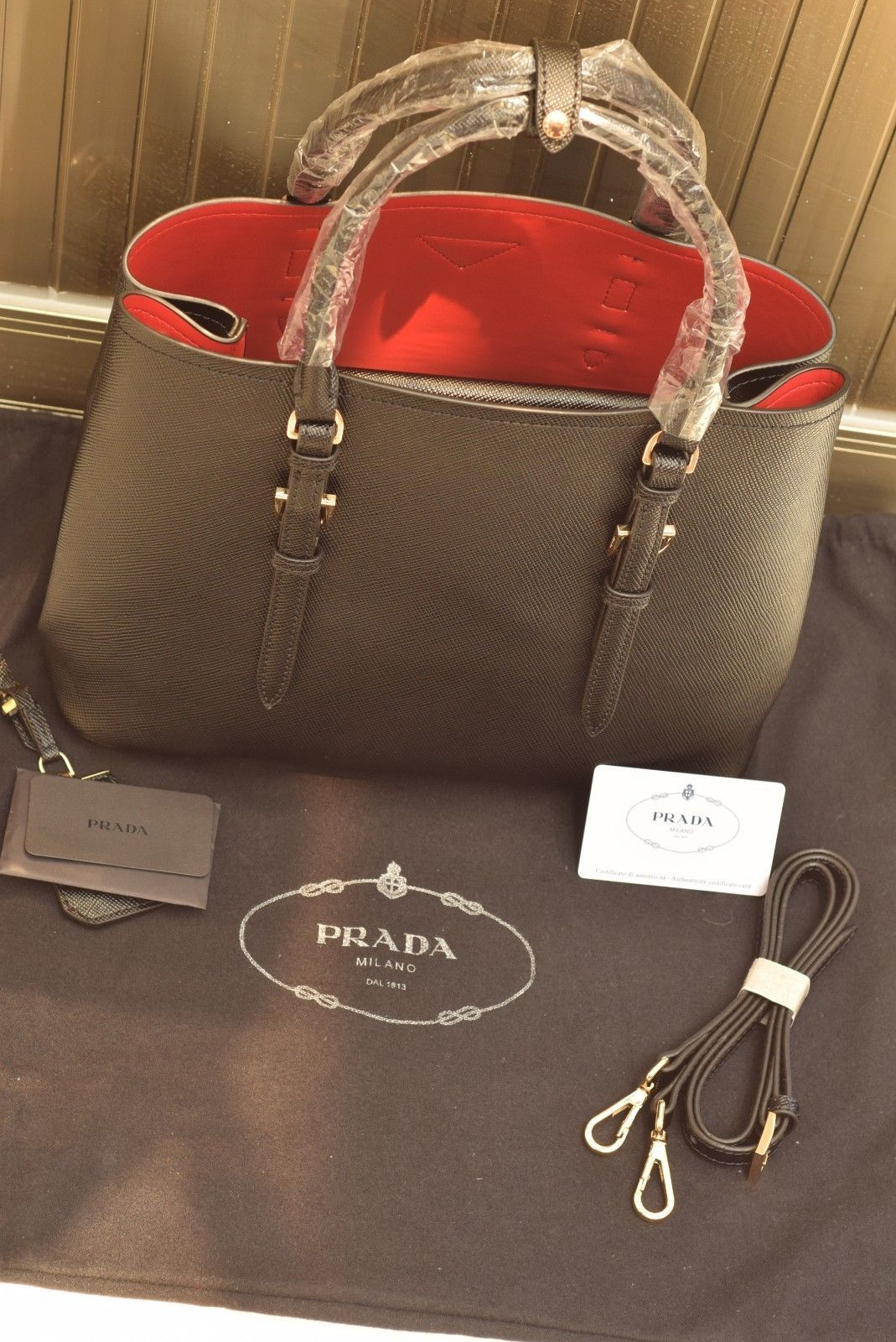 9852da8390ff Authentic Iconic Prada Double Bag Saffiano Cuir Black Red Tote Satchel