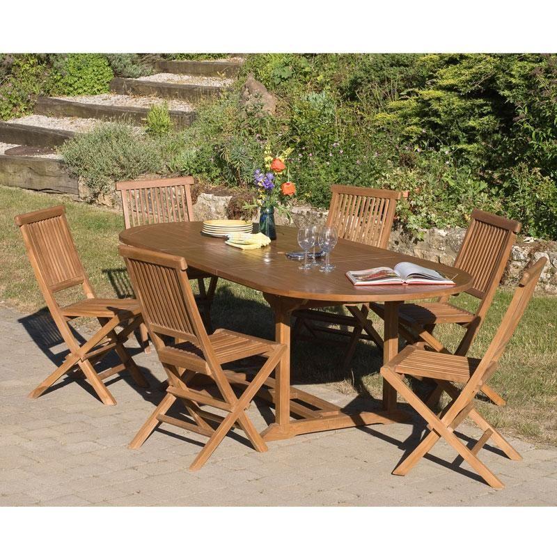 Salon de jardin en teck teinté miel WAIA - 1 table ovale extensible ...