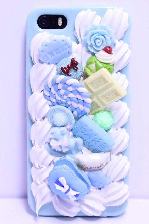 Decoden Phone Case Blue Silicone Rubber White Chocolate Candy