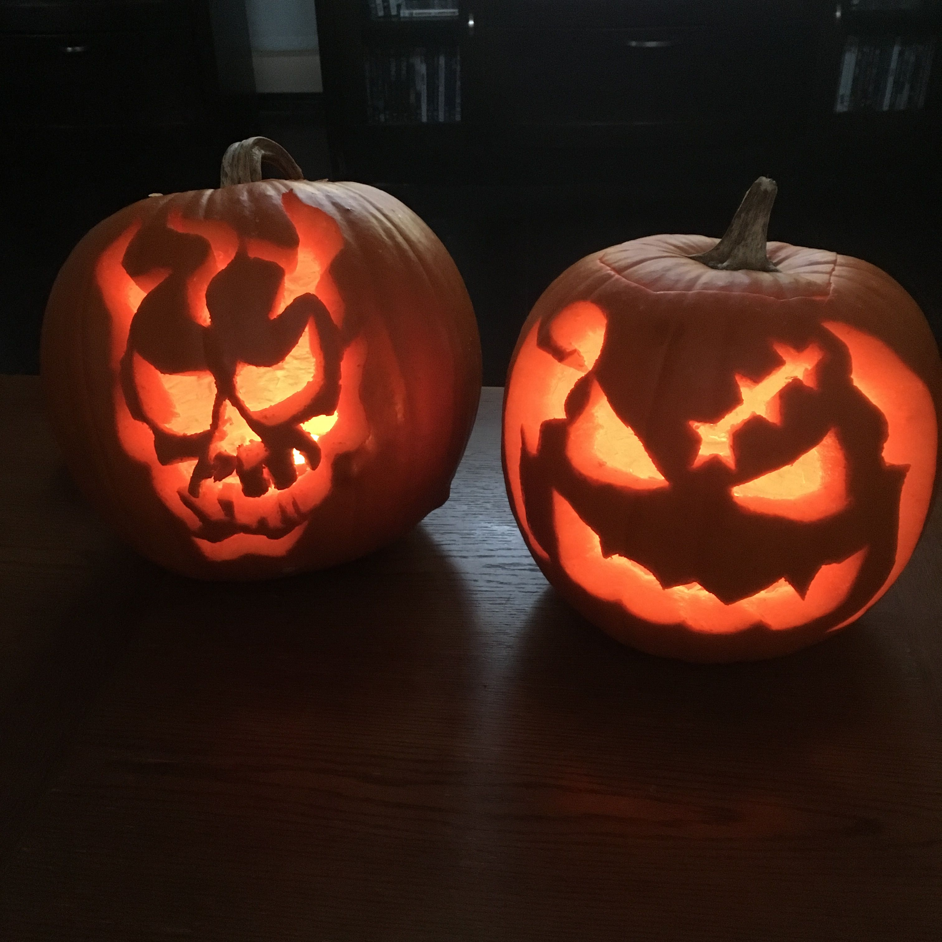 Pumpkin Carvings Gerry and I did! Scary skull and Oogie Boogie from ...