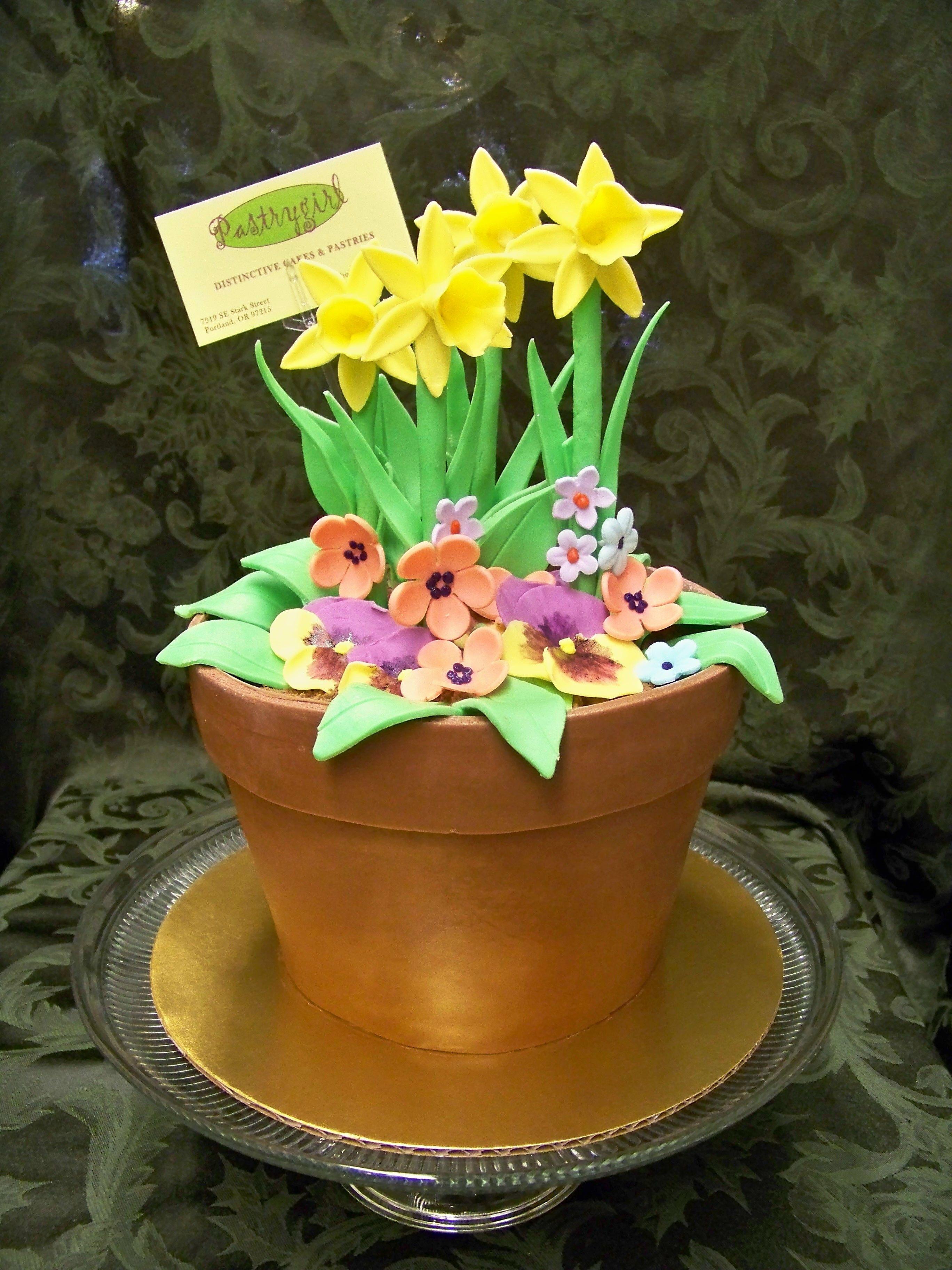 Flower pot cake Flower pot cake, Garden cakes, Flower cake
