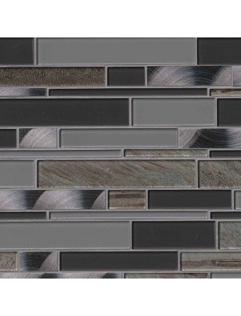 Metallica Interlocking Pattern Glass Metal Blend Tile #glass_metal_blend #interlocking_pattern_glass_tile