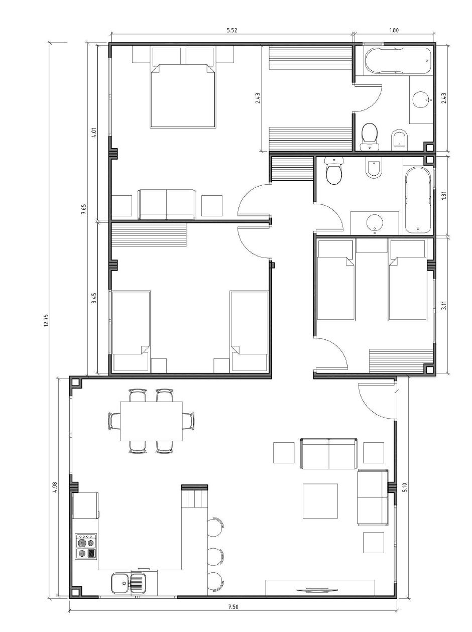 plan appartement 150 m2