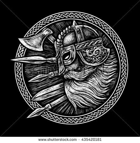 Ancient Viking Head In A Ring With Scandinavian Ornament Logo For Mascot Design Graphic Illustration The Ax A Norse Tattoo Simbolos Viking Vikings Desenho