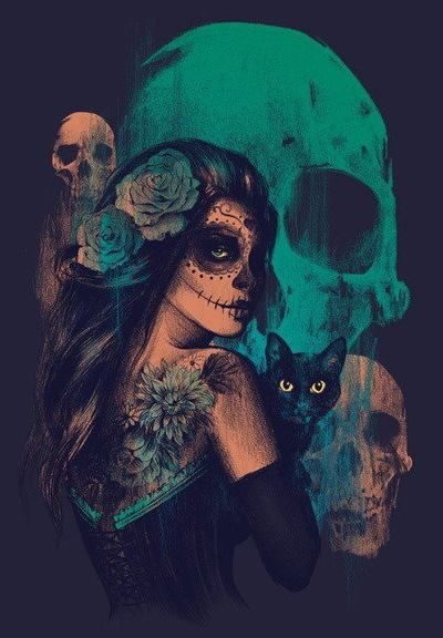 Me Kitty Cat Beauty Drawing Illustration Art Girl Cool Painting Black Green Creative Tattoo Flower Blue Comic Skull Colors Woman Rose Sugar Zombie