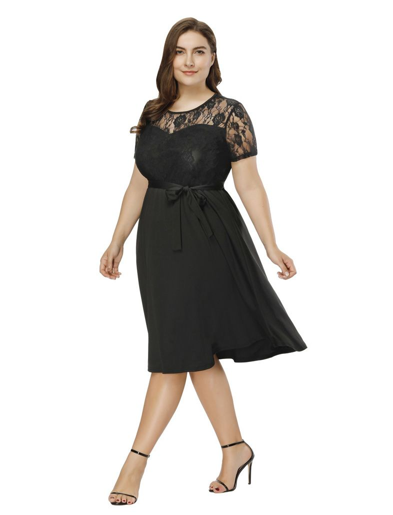 Lace overlay short sleeves midi work casual little black