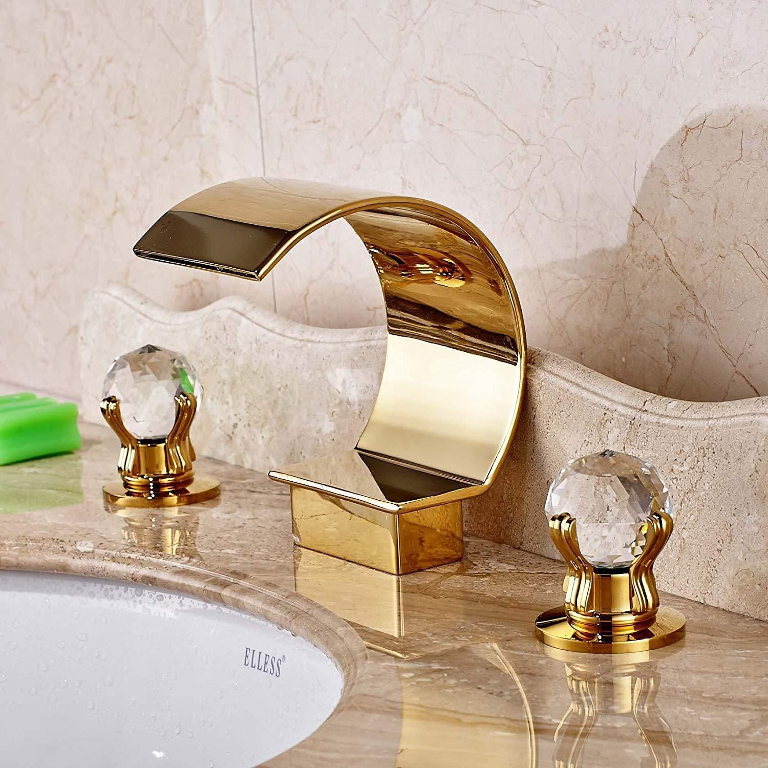 Waterfall Spout Bathroom Sink Faucet Dual Glass Handles Basin