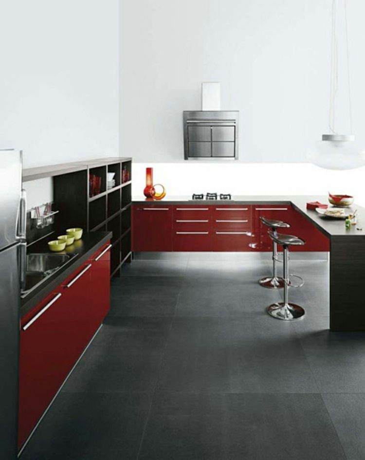 Cuisine rouge et grise 25 belles idées d\u0027inspiration - Photo Cuisine Rouge Et Grise