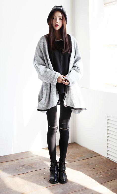 Korean - Asian - Style - Fashion - Outfits - Ulzzang - Sweety - Pretty - Black - White - Lovely ...
