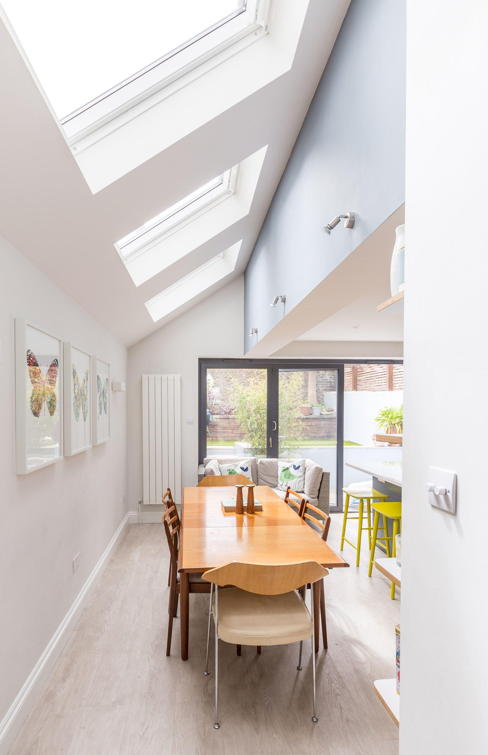 Sloped roof side extension | velux rooflights | extending floor ...