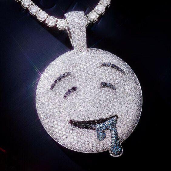 7347c774c Men's Hip Hop 2Ct White & Black Diamond Drool Emoji Pendant 14K White Gold  Over #HiyaJewels #Pendant