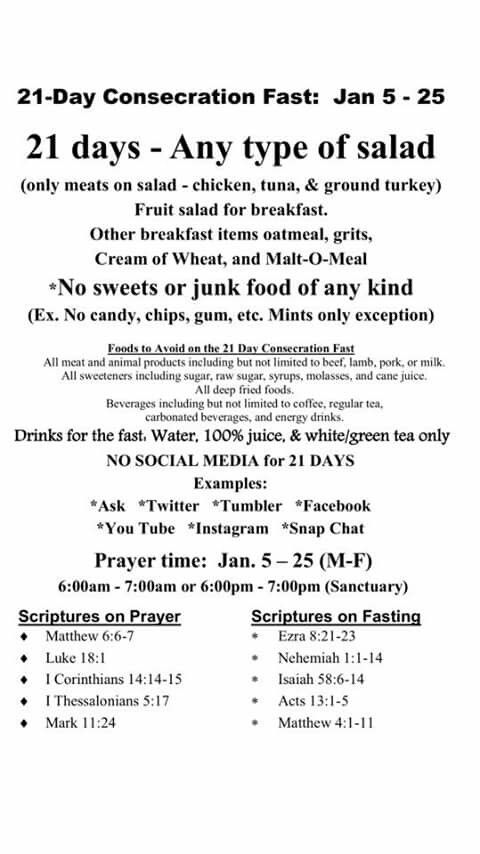 21 Day Consecration Fast Fast And Pray 21 Day Fast Spiritual Fast