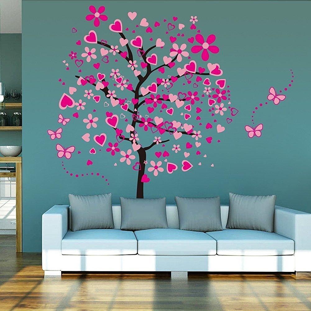 elecmotive riesige herz baum schmetterling abnehmbare wandaufkleber wandtattoo wandsticker. Black Bedroom Furniture Sets. Home Design Ideas