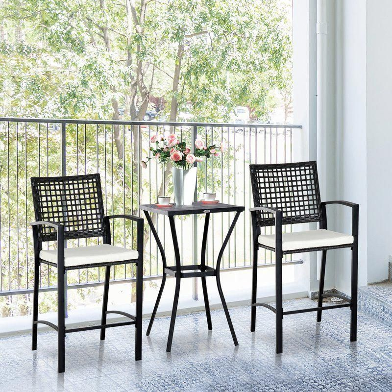 Eleanor Outdoor 3 Piece Bistro Set With Cushions Muebles
