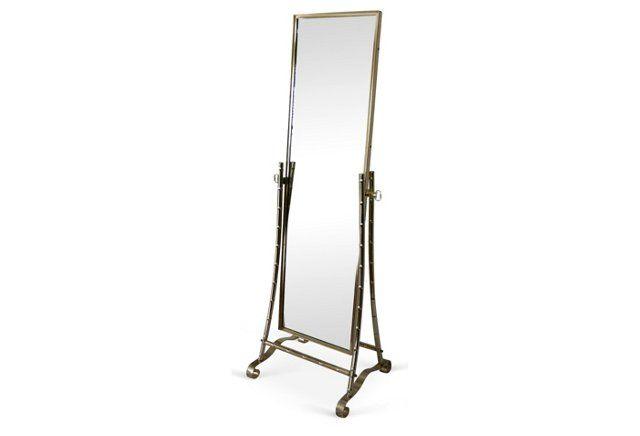 Brass Bamboo-Style Cheval Floor Mirror 999 ... Brass cheval floor ...