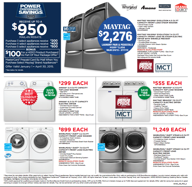 President S Weekend Sale Feb 11 22 Allstar Home Appliance Center Is Offering Great Money Saving Deals On Whirlpool M Appliance Center Laundry Pair Maytag