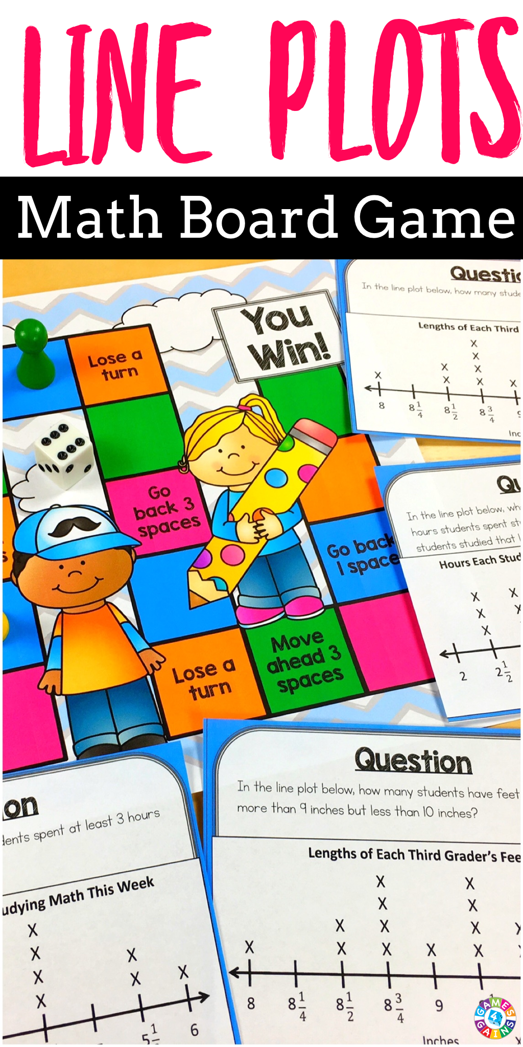 Line Plots With Fractions And Whole Numbers Board Game 3