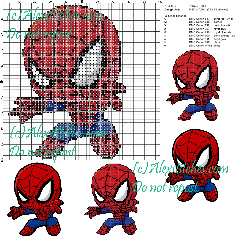 Spiderman cross stitch pattern 100x100 9 colors | Cross Stitch ...
