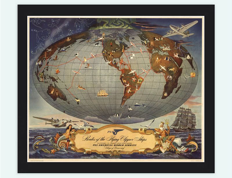 Old World Map Pan American Airlines Vintage Poster Travel posters - new air france world map flight routes c.1948